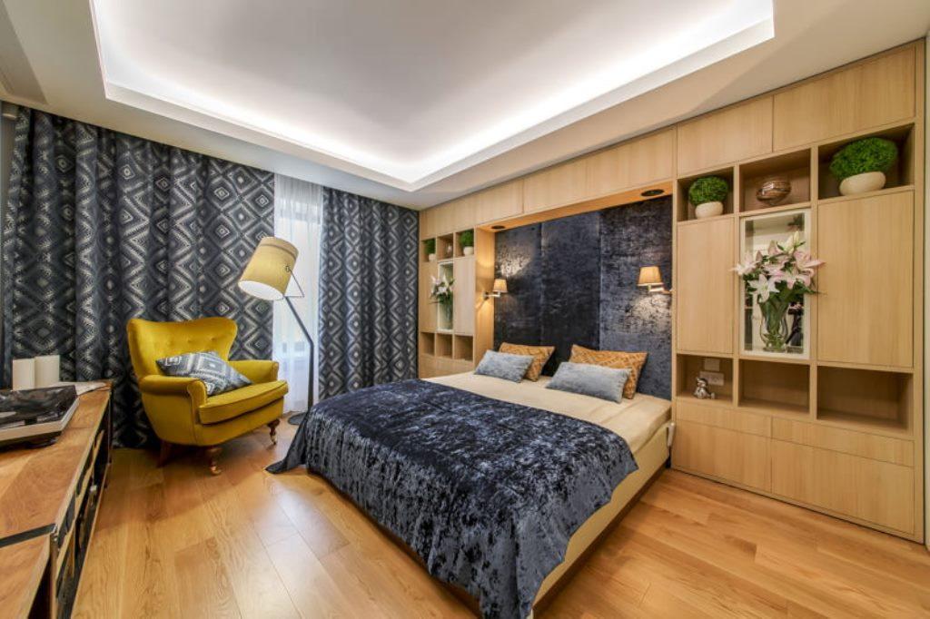 освещение в спальне с натяжным потолком декор фото