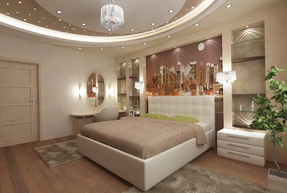 освещение в спальне с натяжным потолком дизайн фото