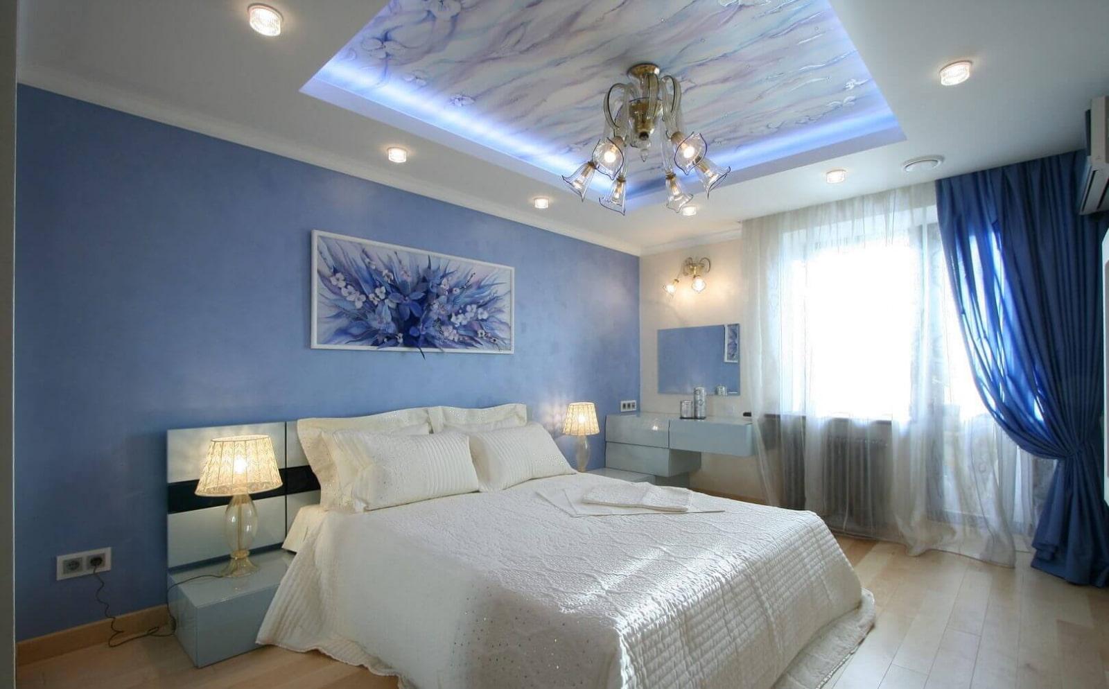 освещение в спальне с натяжным потолком фото декор