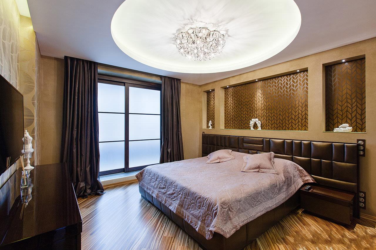 освещение в спальне с натяжным потолком фото дизайн