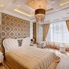 освещение в спальне с натяжным потолком фото идеи