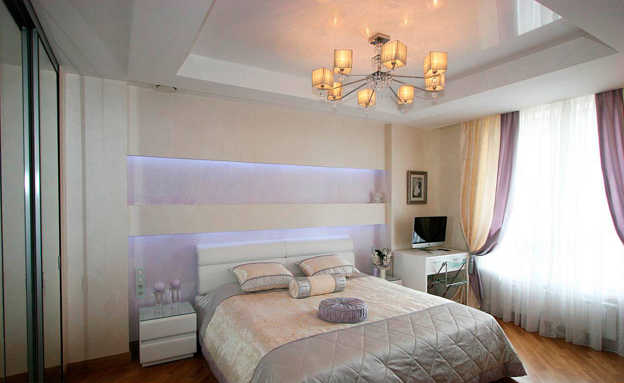 освещение в спальне с натяжным потолком оформление