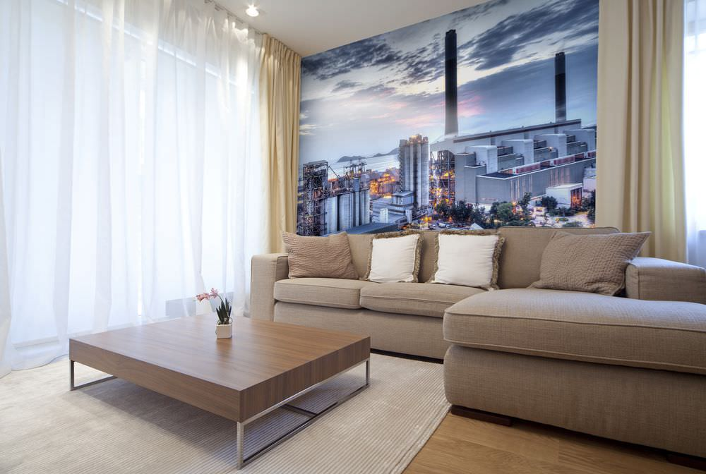 Декор фотообоями стены над диваном в зале