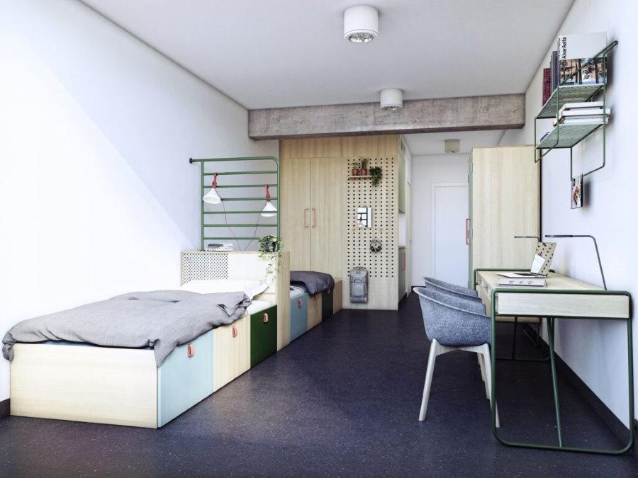 Темные пол в двухместной комнате общежития