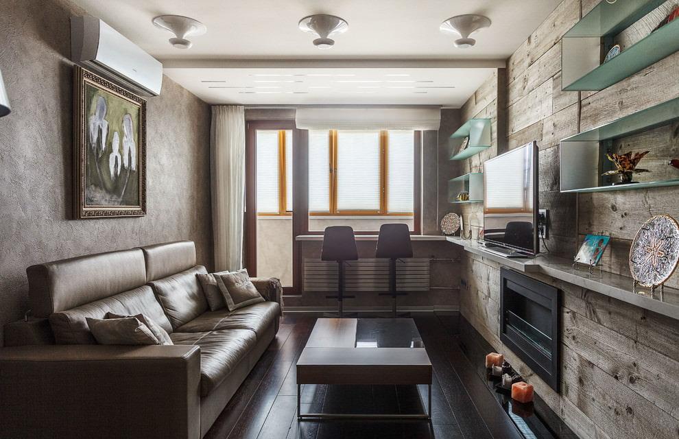 Зонирование гостиной потолком из гипсокартона