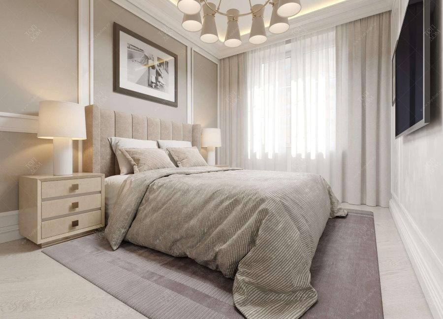 Интерьер современной спальни в пастельных тонах