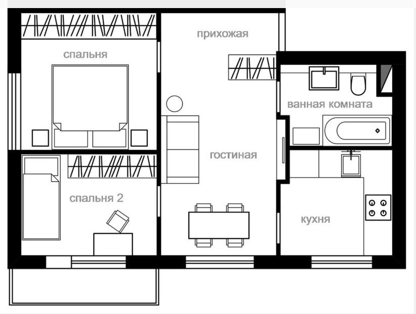 Схема перепланировки хрущевки двушки в трехкомнатную квартиру