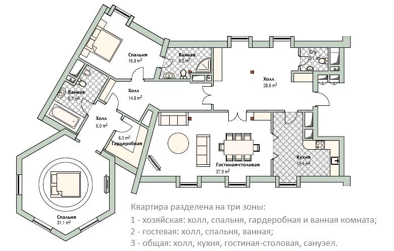 Схема элитной квартиры с тремя санузлами