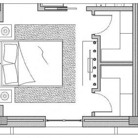 Планировки большой спальни с гардеробами для родителей