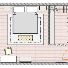 Планировка спальни 20 кв метров с угловым гардеробом