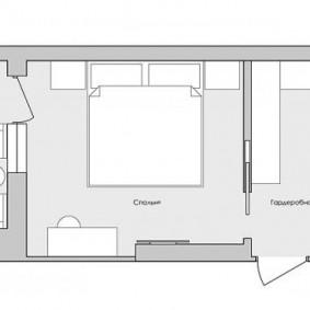План спальной комнаты с гардеробом на входе