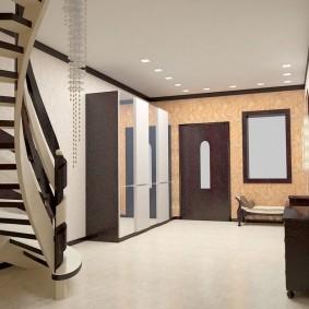 прихожая с лестницей в частном доме идеи декор