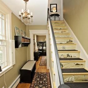 прихожая с лестницей в частном доме идеи оформление