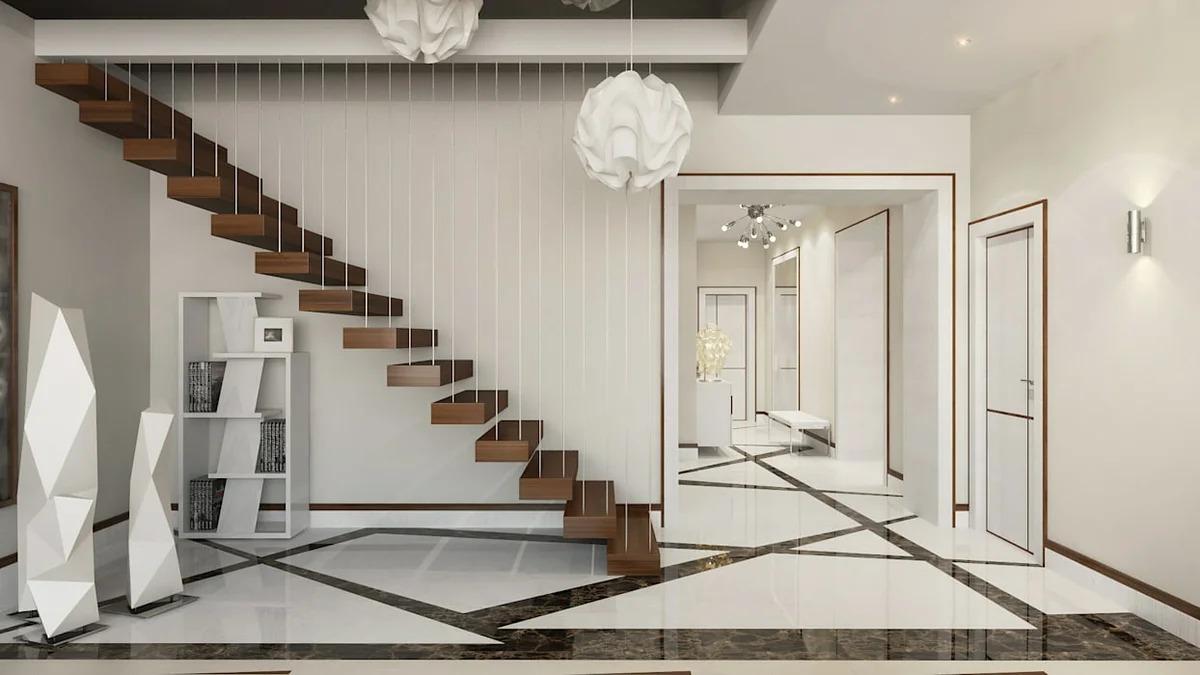 прихожая с лестницей в частном доме модерн фото