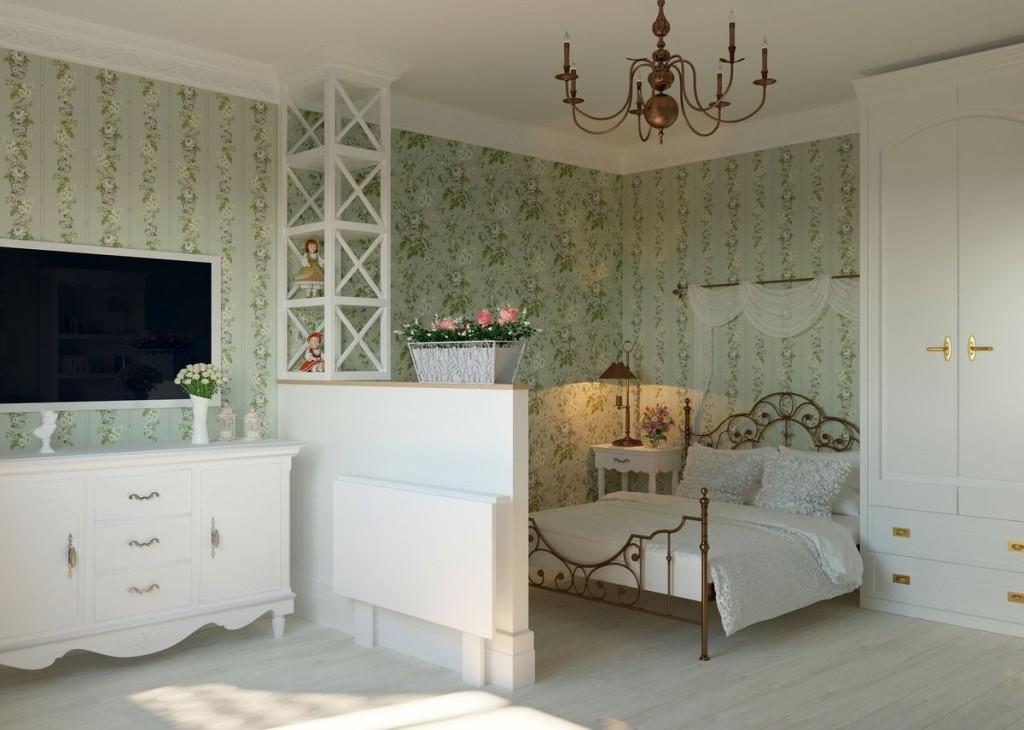 Квадратная спальня-гостиная в деревенском стиле