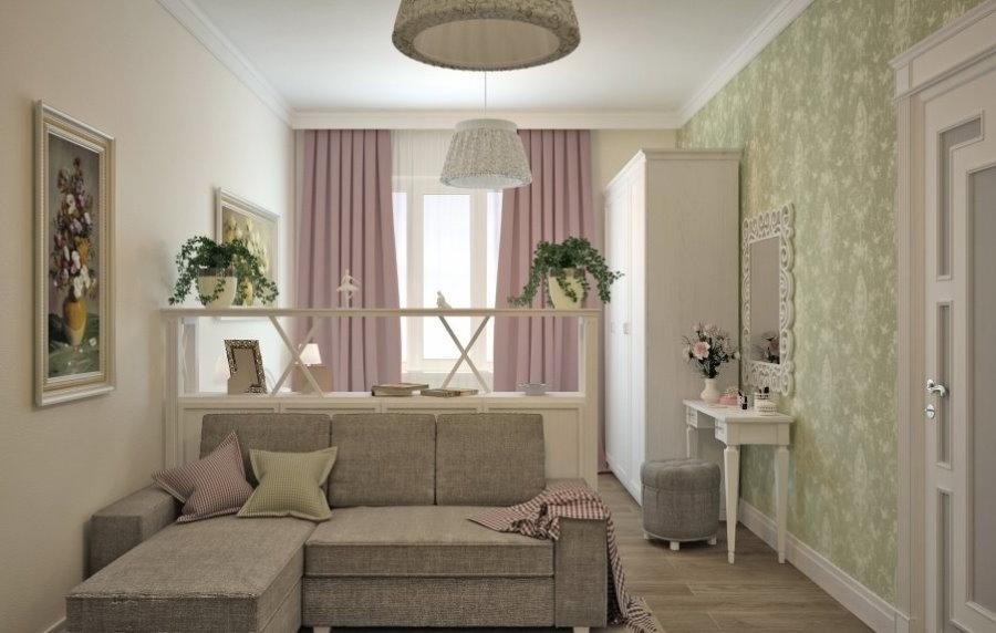 Розовые занавески в комнате прованского стиля