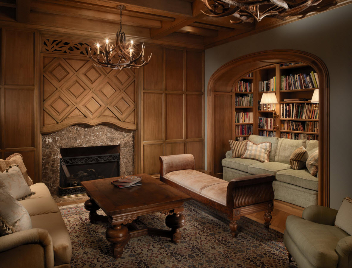 прямоугольная комната с деревянной отделкой