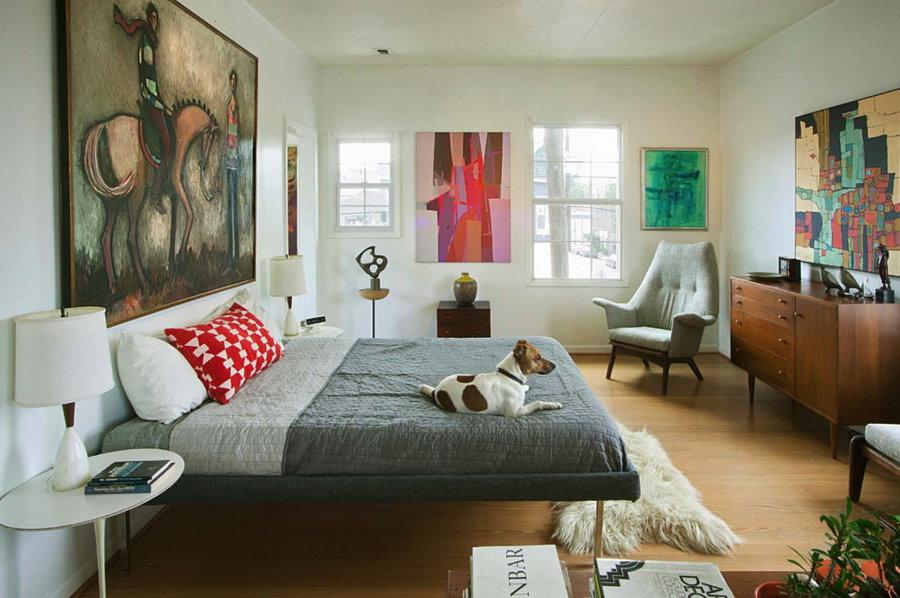 Дизайн спальной комнаты в стиле ретро