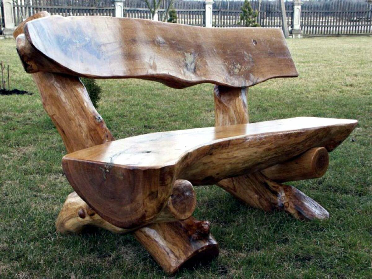 садовая мебель из бревен фото