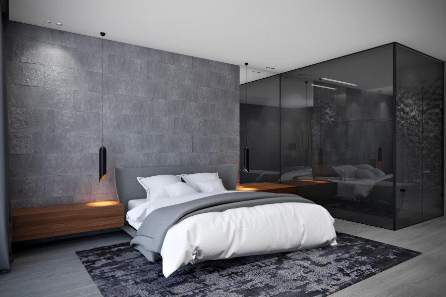 Серая стена в спальне молодого человека