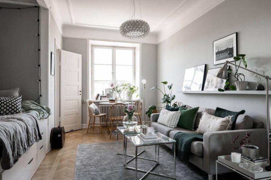 Отделка стен в спальне-гостиной скандинавского стиля