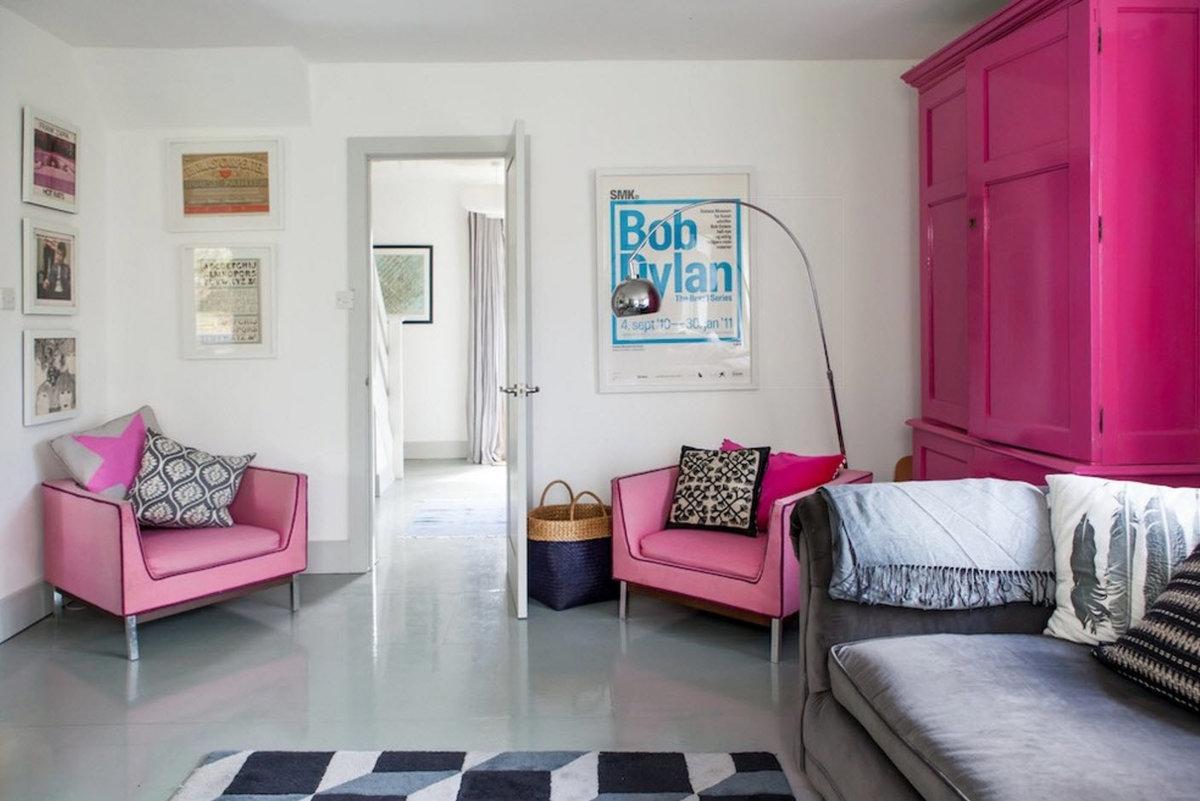 серо розовая гостиная