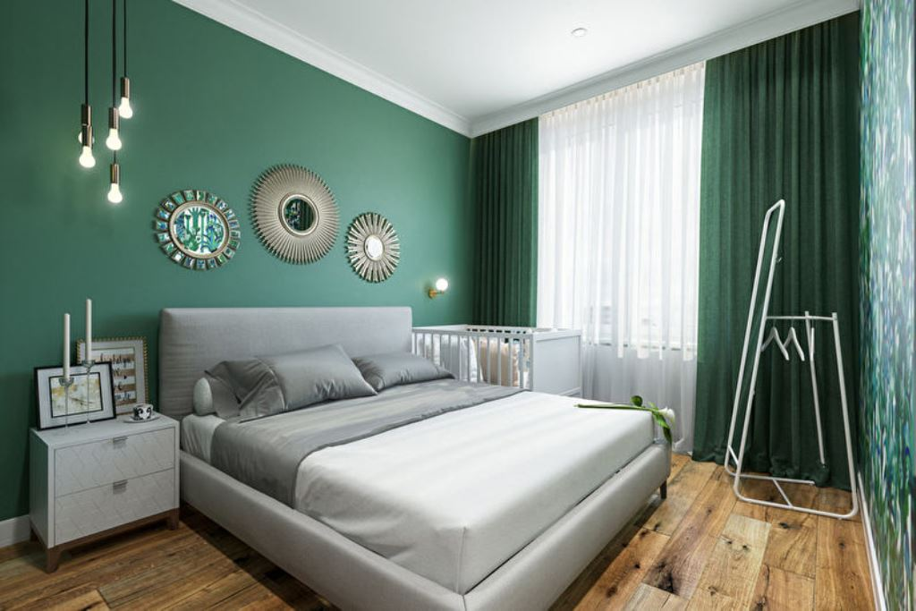 серо зеленая спальня