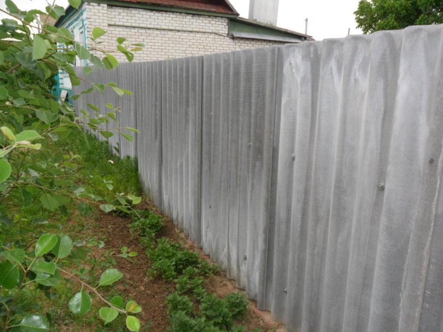 Серые листы шифера на заборе дачного участка