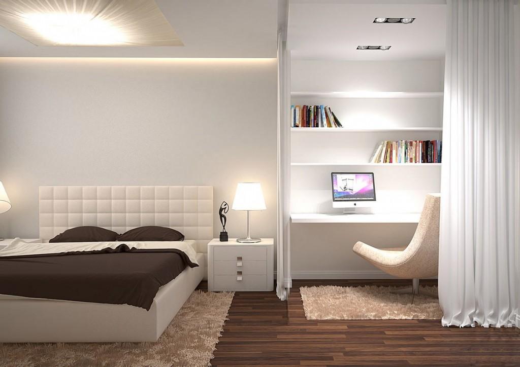 Разделение комнаты шторами на спальню и рабочий кабинет