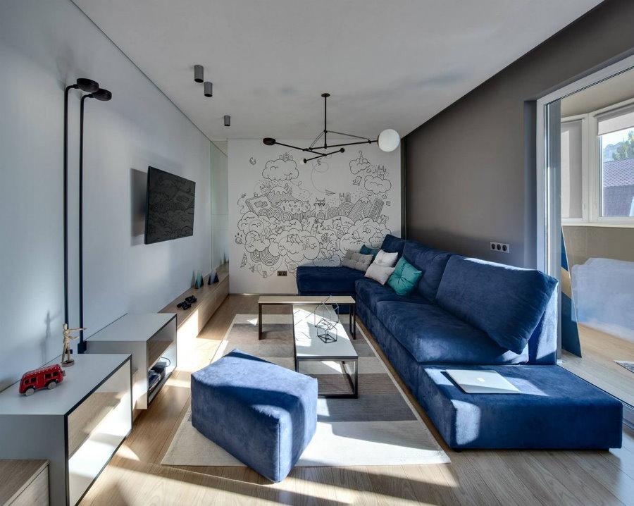 Мягкая мебель с обивкой синего цвета