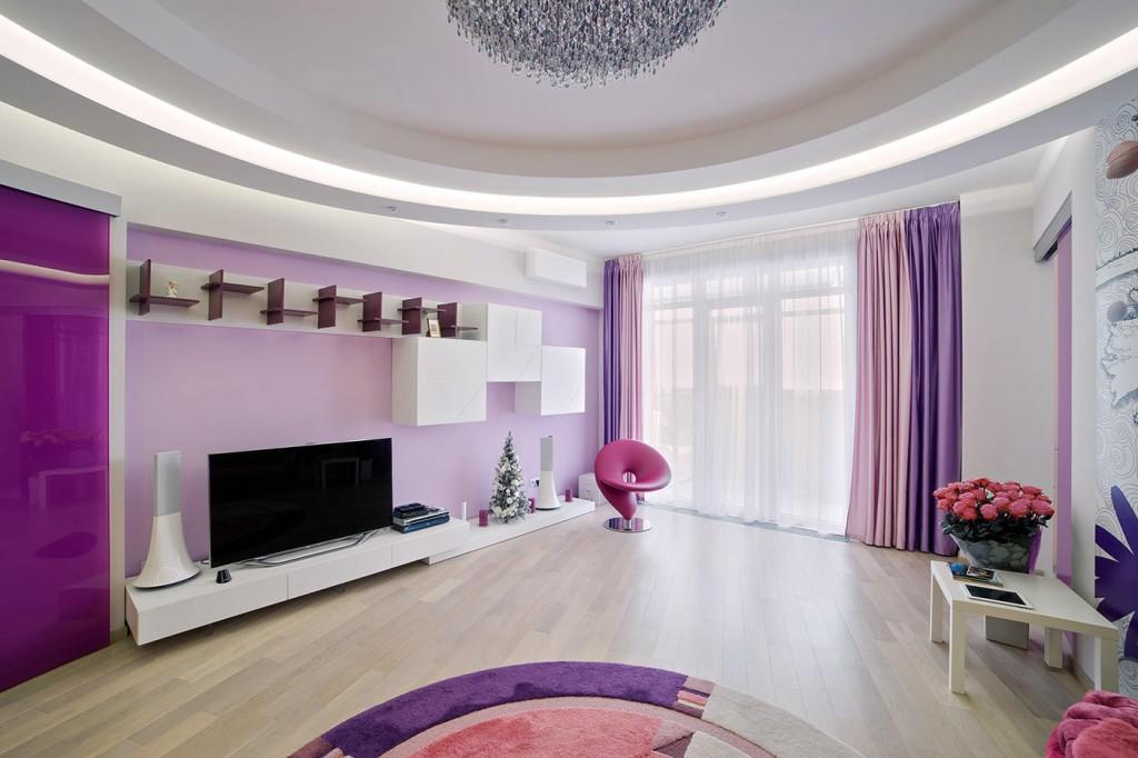 Сиреневые шторы в гостиной современного стиля