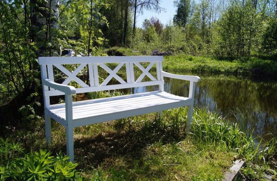 Деревянная скамейка на берегу естественного водоема