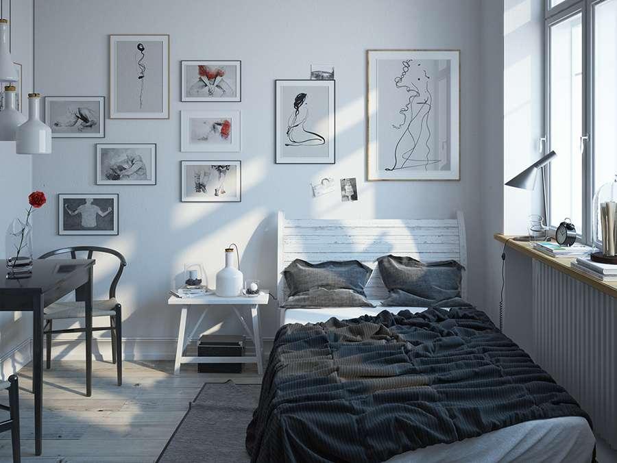 Небольшая уютная спальня в стиле сканди