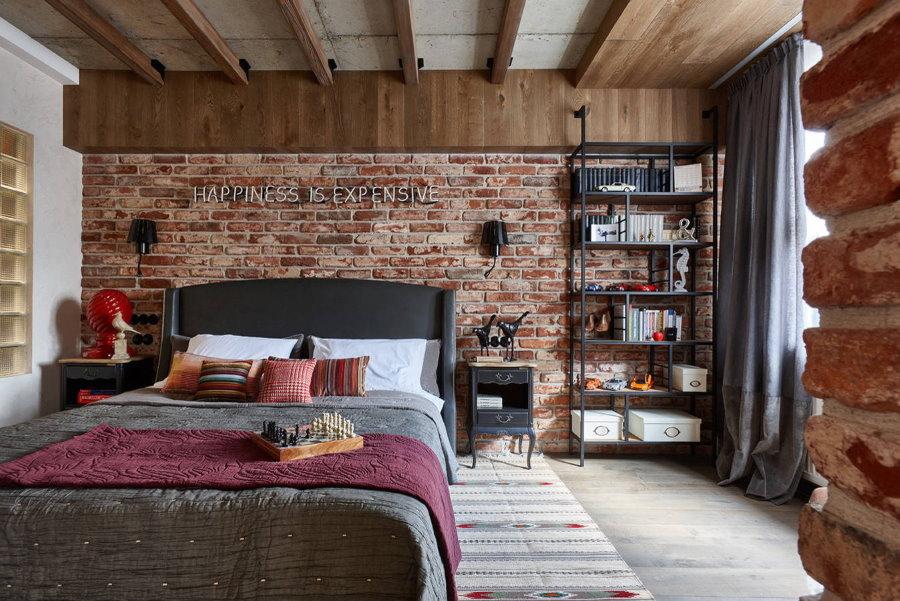 Современная спальная комната в стиле лофта