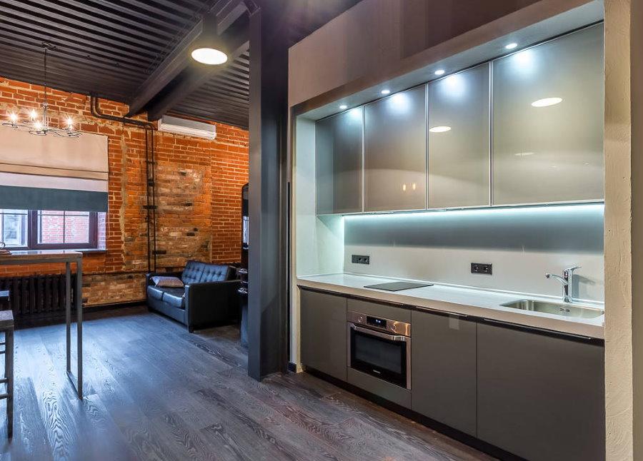 Кухня-гостиная в стиле лофта с элементами хай-тека