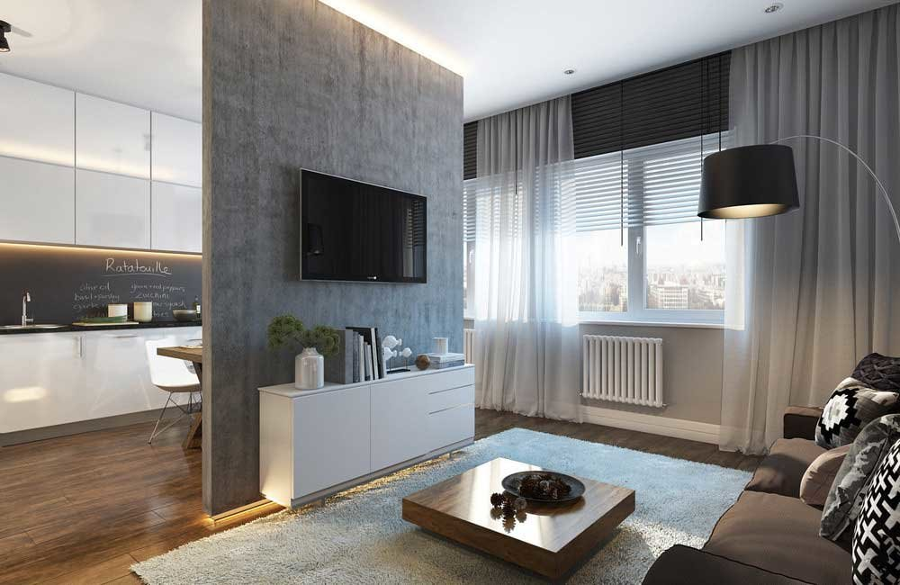 Серая перегородка в современной квартире