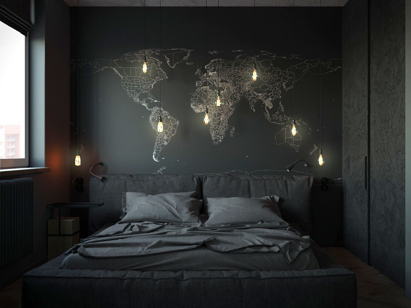 современная спальня в черном цвете