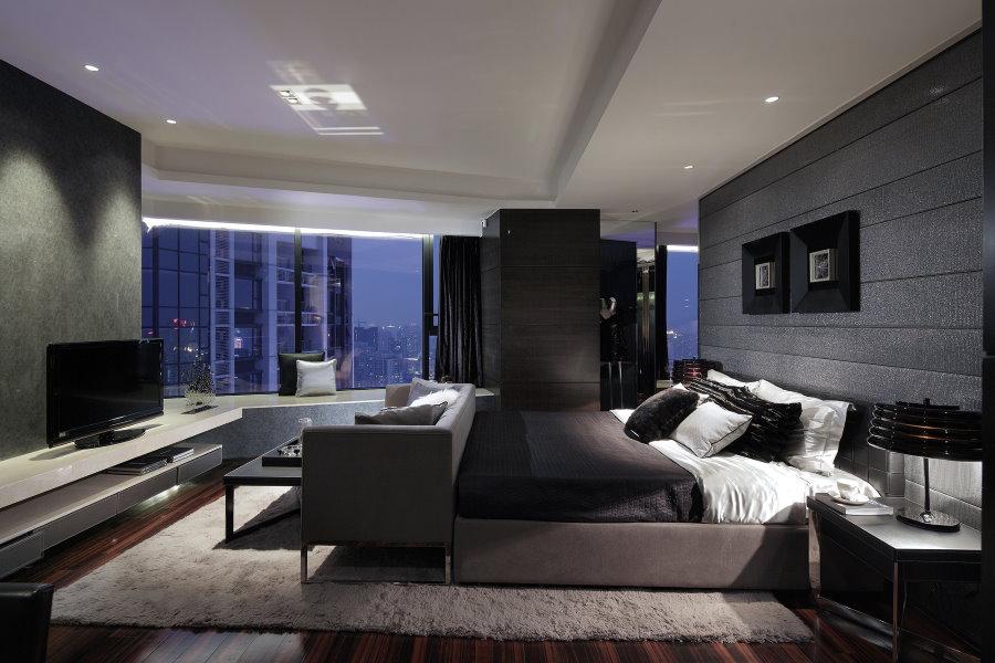 Спальня площадью 25 квадратов в стиле хай-тек