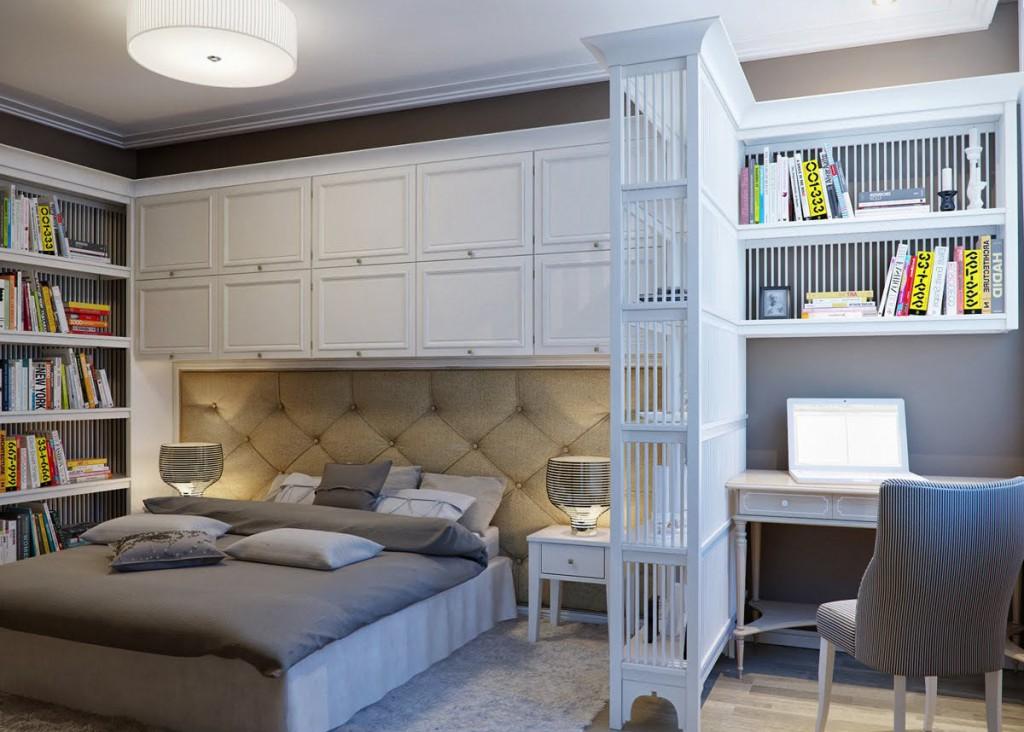 Зонирование большой спальни с рабочим кабинетом