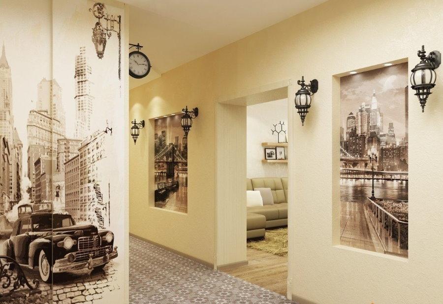 Стильные обои с фотопечатью в нише стены прихожей комнаты
