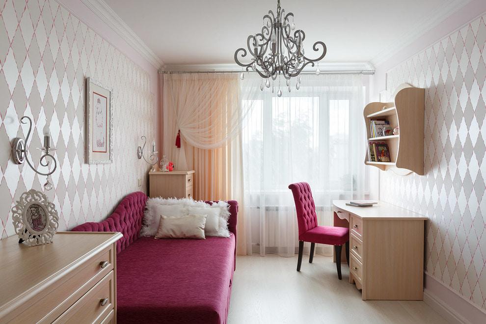 Отделка интерьера небольшой комнаты в светлых оттенках