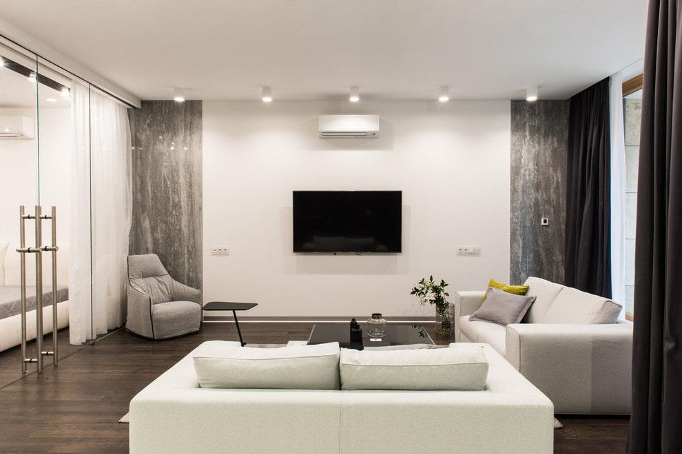 Окраска стены за телевизором в белый цвет