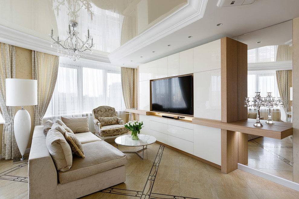 Оформление телевизионной зоны в гостиной комнате