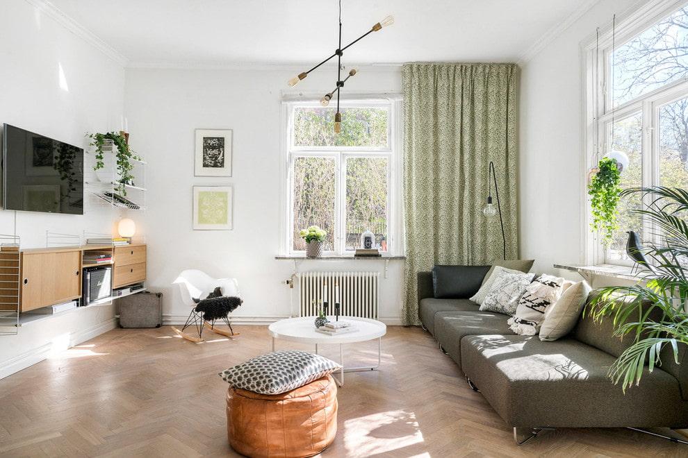 Подвесные тумбы под телевизором в гостиной нордического стиля