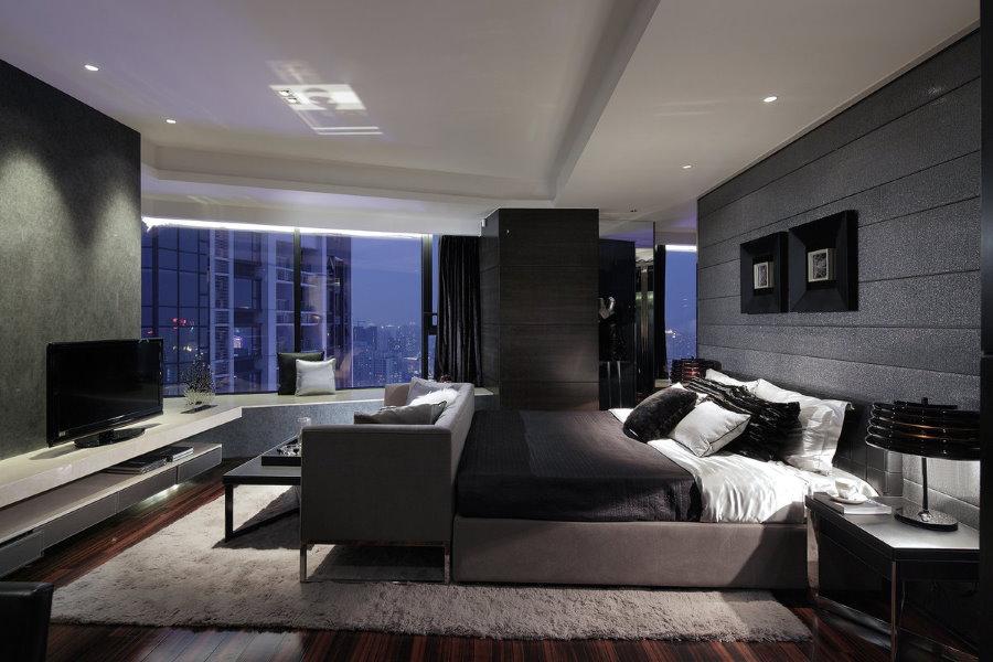 Фото спальни-гостиной в стиле хай-тек с панорамным окном