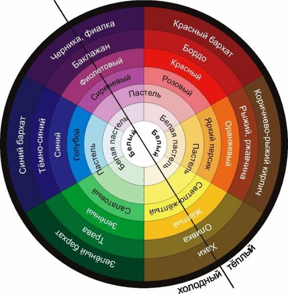 Цветовой круг теплых и холодных оттенков