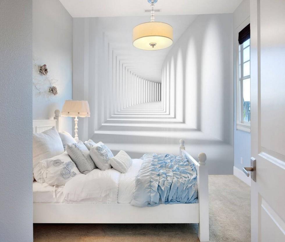 Обои с перспективой на стене компактной спальни
