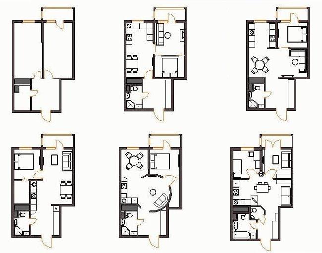 Схемы перепланировки хрущевки с 2 жилыми комнатами