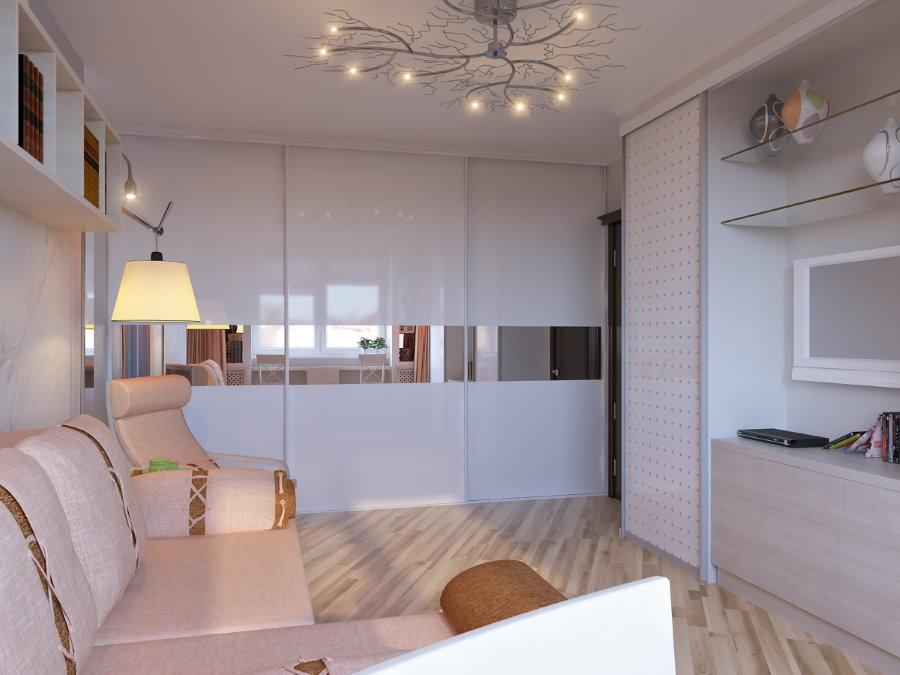 Встроенный шкаф-купе в гостиной однокомнатной квартиры