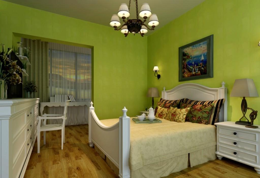 Зеленые обои под покраску в интерьере спальни